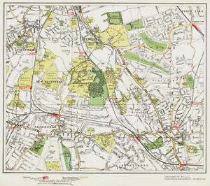 Beckenham Bromley Downham Area Map London 1932 111 112 Ebay