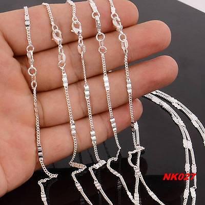 """Wholesale lots 5pcs FL Silver 1.5MM Flat Chain Necklace 16""""-30"""""""
