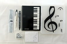 Music Themed Stationery Set - White keyboard pencil case, ruler, Mechanical Penc