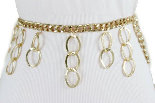 Women Fashion Gold Thick Metal Chain Belt Hip High Waist Dangle Drop Link XS S M