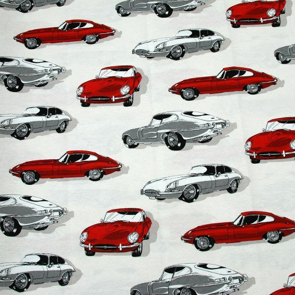 Jaguar E-Type Roadster Cotton Linen Look Upholstery Fabric