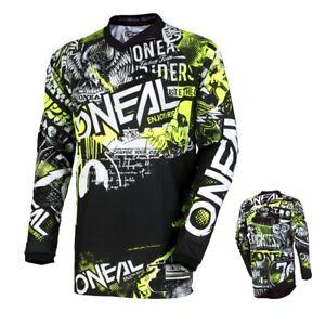 Oneal-Elemento-Jersey-Attack-Mx-Downhill-Enduro-Motocross-Shirt-Nero-Giallo-Fluo