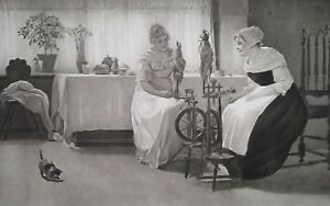 RUSTIC-GIRLS-in-Cottage-Gossip-at-Spinning-Wheels-Kitten-1888-Antique-Print