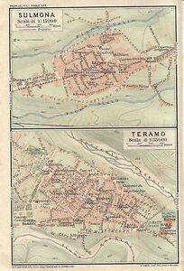 Cartina Geografica Provincia Di Teramo.Carta Geografica Antica Sulmona Teramo Piante Abruzzo Tci 1926 Antique Map Ebay