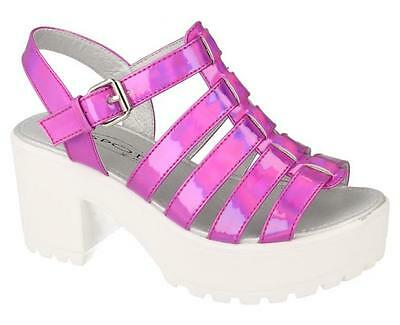 *SALE* Spot On Girls Fuchsia High Platform Gladiator Sandal H1067