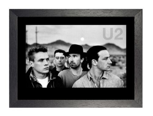 U2-2 Irish Rock Band Dublin Poster Music Star Photo Bono Edge Black White