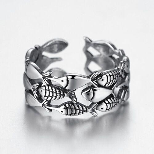 Simple Belle Femme Mignon Plaqué Argent Poisson ouverture Finger Ring Jewelry