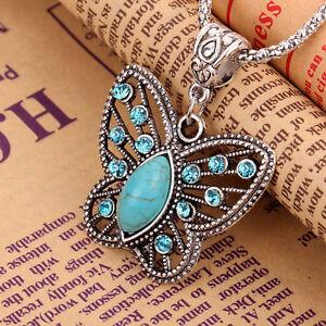 Damen-Vintage-Charm-Halskette-Schmetterling-Anhaenger-Kristall-Strass-Modeschmuck