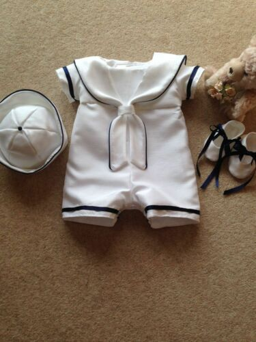 BAPTISM CHRISTENING GOWN SAILOR ROMPER SUIT WITH DETACHABLE SKIRT AND HAT