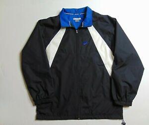 VTG-Nike-Men-Xl-Windbreaker-Jacket-Zip-Nylon-Spell-Out-Swoosh-Black-Blue-90s