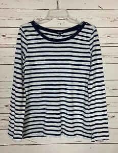 Splendid-Women-039-s-L-Large-White-Navy-Striped-Long-Sleeve-Cute-Fall-Top-Shirt-Tee