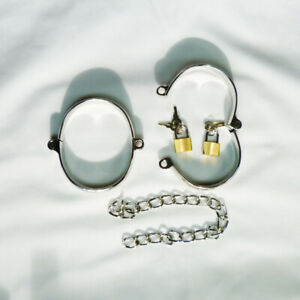 Metal-Locking-ANKLE-shackles-amp-U-clamps-LARGE-CU-27-SIL-FREE-UK-DELIVERY