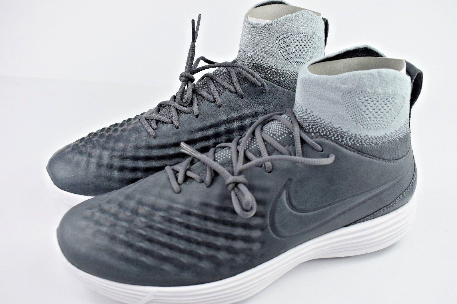 Nike Lunar Magista 2 II FK  Flyknit Mens Indoor Soccer Shoes 852614 002 Grey