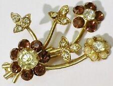 broche bijou vintage couleur or cristal diamant citrine perle blanche * 4401