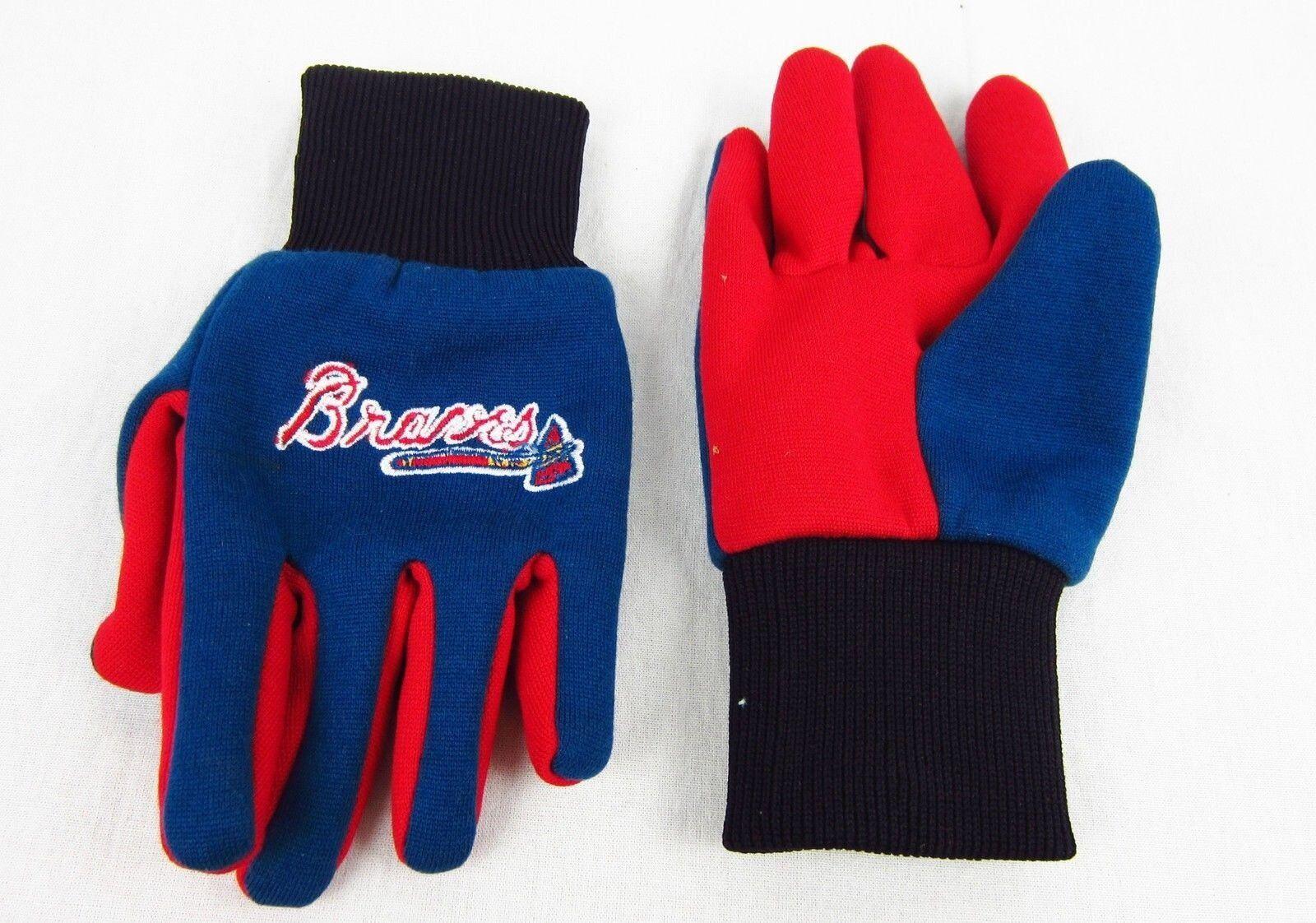 Kids Atlanta Braves Colored Palm Utility Gloves Blue Red Black NWT