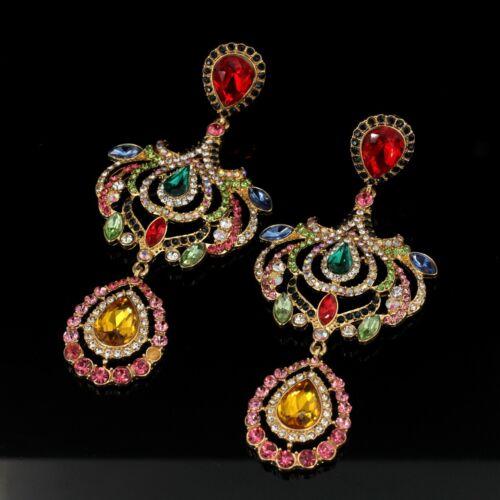 Ohrringe Mode Gestüt Mehrfarben Rot Grün Tulpe Leuchter Fallen Jahrgang Art QD3