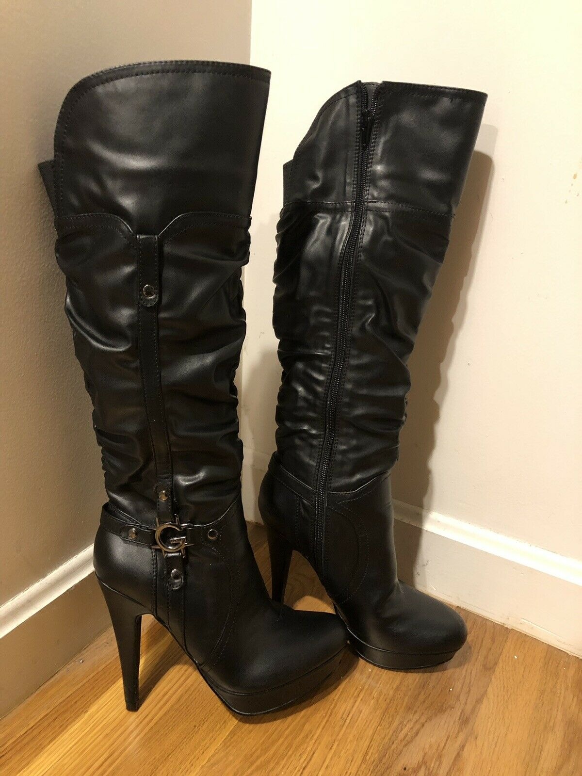 G by Guess Platform Fashion Leather Boots Zipper Size 7.5 Rouched Design 5  Heel