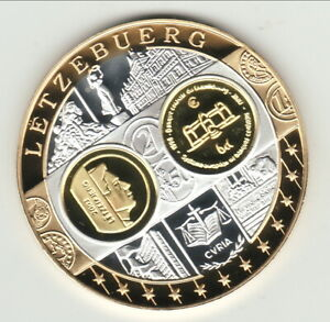 LUXEMBOURG     BE Europa Argent 999 Première Frappe Hommage  l'Euro Argent et Or