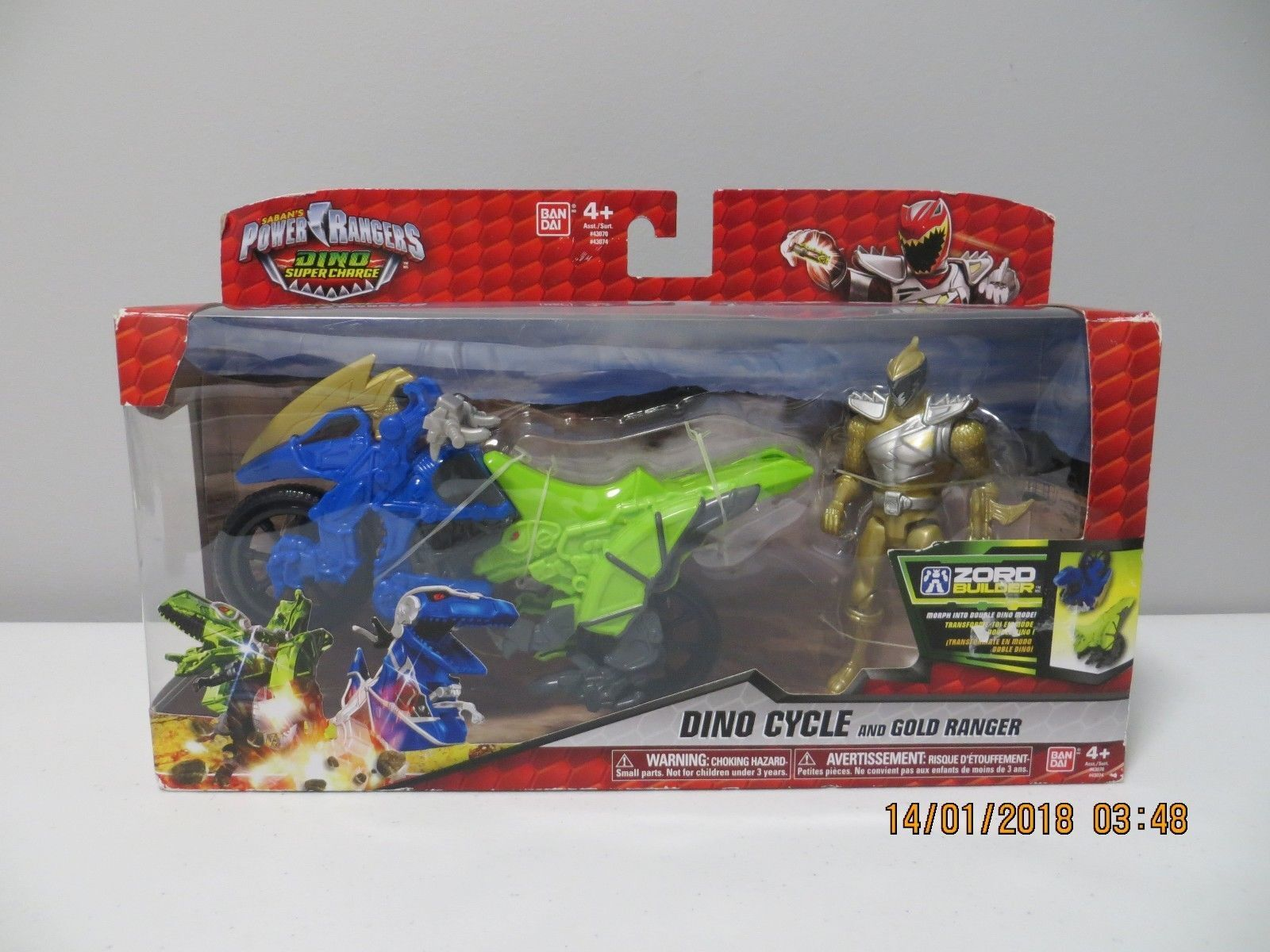 Power Rangers Dino Super Charge Gold Dino Cycle Ranger NISP 2016