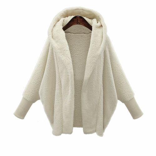 Damen Flauschiges Fell Strickjacke Kapuze Hoodie Mental Freizeit Jacke Outwear