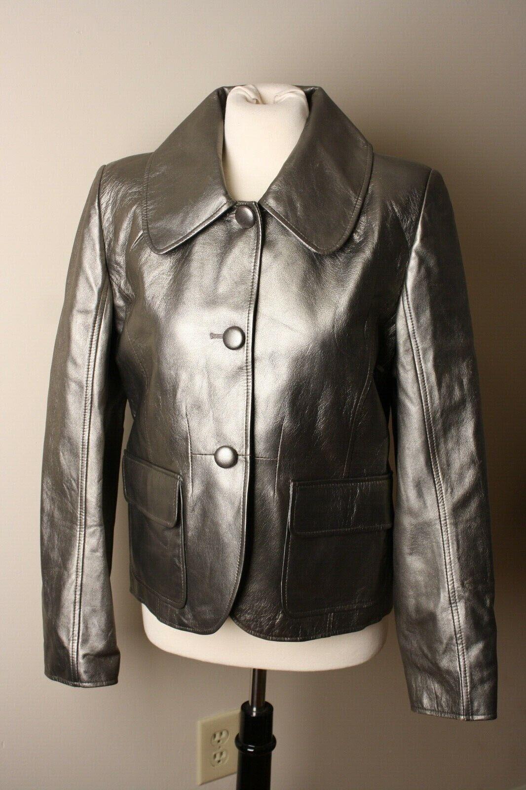 Phil luangrath NY L  abrigo chaqueta de cuero de plata del estaño  punto de venta barato
