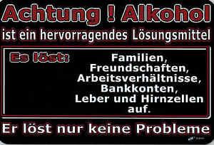 Spruche Pst Schild 30 X 20 Cm Achtung Alkohol Losungsmittel