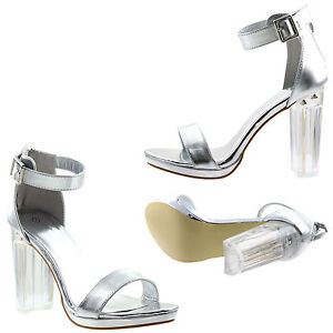6e1a018b908 Image is loading Womens-Clear-Chunky-Block-High-Heel-Ankle-Strap-