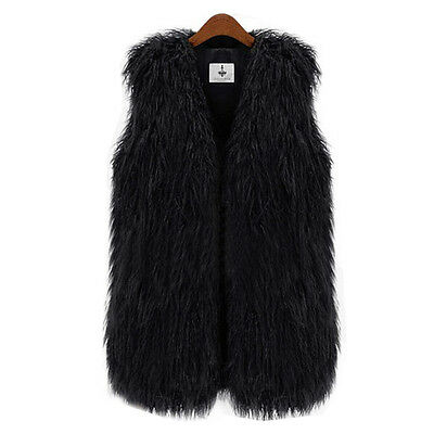 Women Faux Fur Shaggy Vest Sleeveless Coat Outerwear Long Hair Jacket Waistcoat