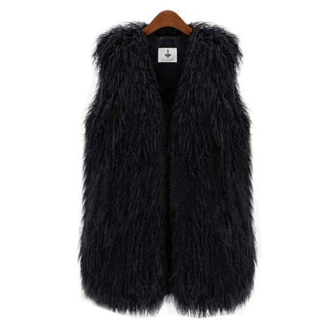 Women Long Hair Jacket Waistcoat Faux Fur Shaggy Vest Sleeveless Coat Outerwear