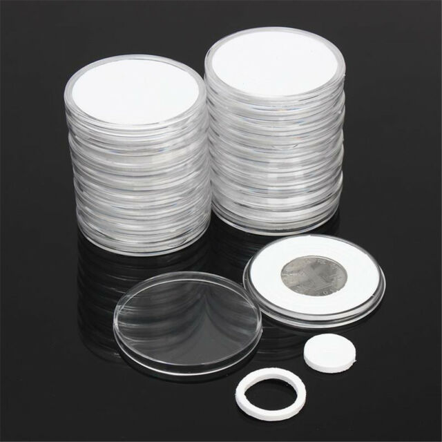 40X46mm Coin Capsules Applied Clear Holder Round Plastic Storage Case Collection