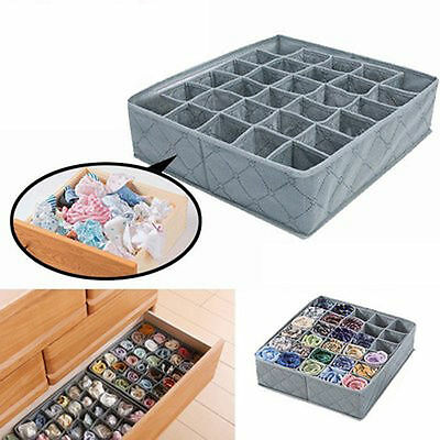 Underwear Ties Socks Drawer 30Cell Bamboo Charcoal Closet Organizer Storage Box~