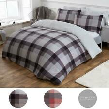 Dreamscene Check Teddy Fleece Duvet Cover with Pillowcase Thermal Bedding Set UK