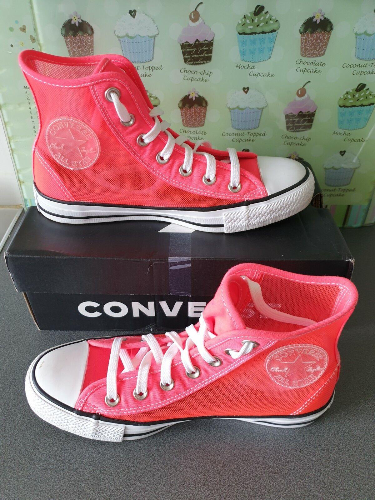 ** portée deux fois ** femme rose transparent maille Converse All Star taille 5