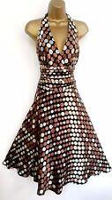 MONSOON ✩  STUNNING EVA SILK SPOT HALTER ORIANE COCKTAIL DRESS ✩  UK SIZE 12