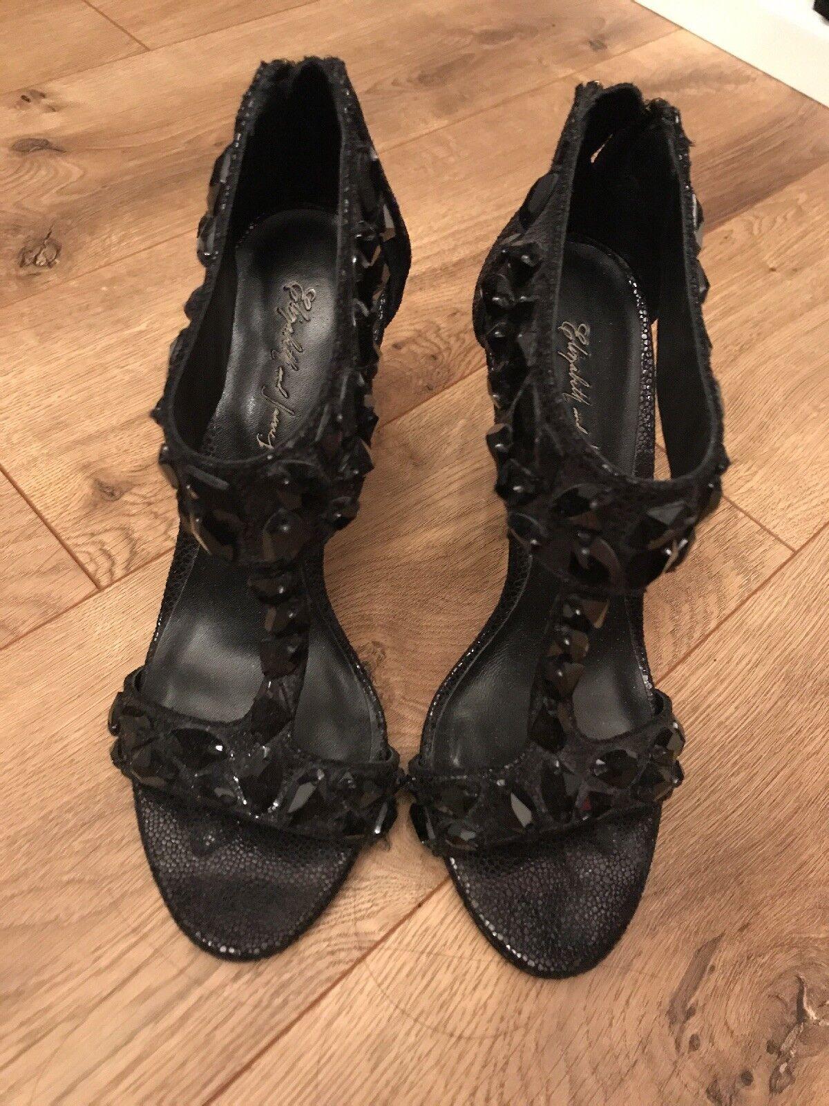 425 ELIZABETH AND JAMES Embellished T-Strap Sandals SZ 6