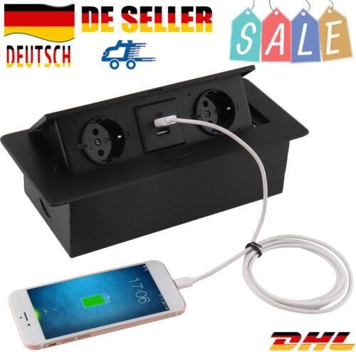 2-Fach+USB Tischsteckdose Küchensteckdose Energiestation Steckdose versenkbar Fo