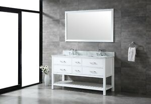 Details About All Wood High End 60 Inch White Shaker Double Bathroom Vanity With Lower Shelf