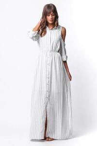 c714b73cfa7 Pinstripe Oxford Stripe Open Off The Shoulder Long Maxi Shirt 218 mv ...