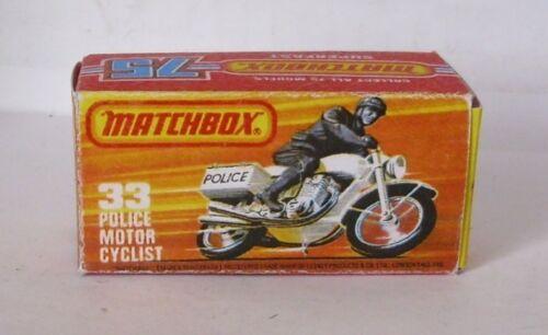 Repro Box Matchbox Superfast Nr.33 Police Motor Cyclist