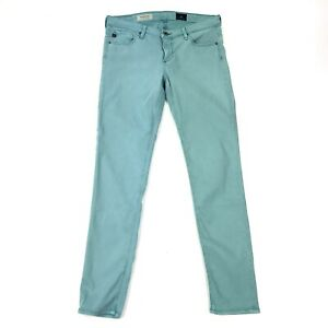Adriano-Goldschmied-AG-Stevie-Ankle-Slim-Straight-Mint-Green-Stretch-Jeans-Sz-28