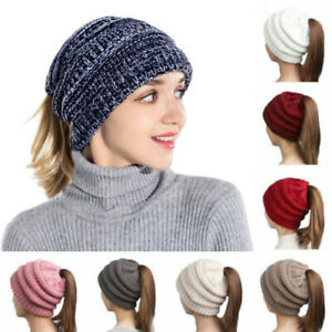 Woman-Knitted-High-Bun-Ponytail-Hat-Messy-Stretchy-Crochet-Skull-Beanie-Cap-RO
