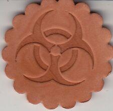 Biohazard symbol stamp. Delrin laser engraved clicker stamp
