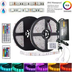 Ruban-LED-5050-RGB-Etanche-1M-10M-Bande-Telecommande-44-Alimentation-12V-2A-6A