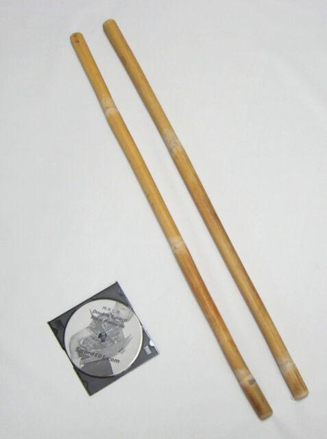 2 Burned Rattan Escrima Arnis Kali Sticks Pair Fighting Striking