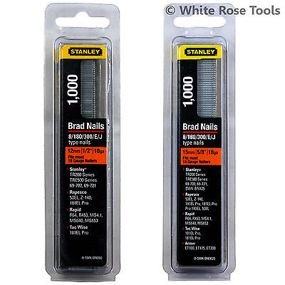 New Stanley 1000pc Brad Nails for 18 Gauge Nailer 12mm or 15mm Nail Gun