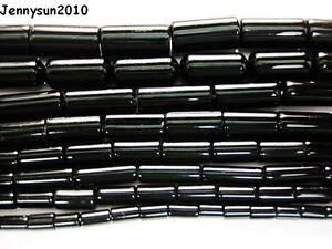 Natural-Blak-Onyx-Gemstone-Tube-Beads-16-039-039-3mm-4mm-5mm-6mm-8mm-10mm-12mm-16mm