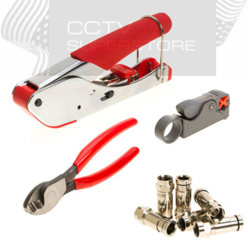 Compression Tool Coax Rg59 Rg6 RCA BNC F Connector Fitting Crimper Cable Kit