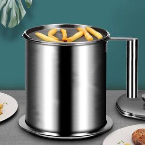 1.4l Oil Filter Storage Can Pot Grease Kitchen Stainless Steel Lard Separator