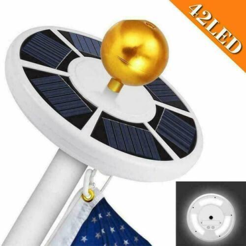 Solar Powered Flag Pole Light 128 LED USA Night Super Bright Flagpole Waterproof