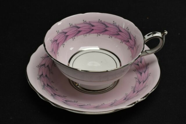 Paragon By Appointment A672/4 Pink Floral Silver Trim Cup & Saucer